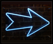 ARROW in Blue Neon Sign